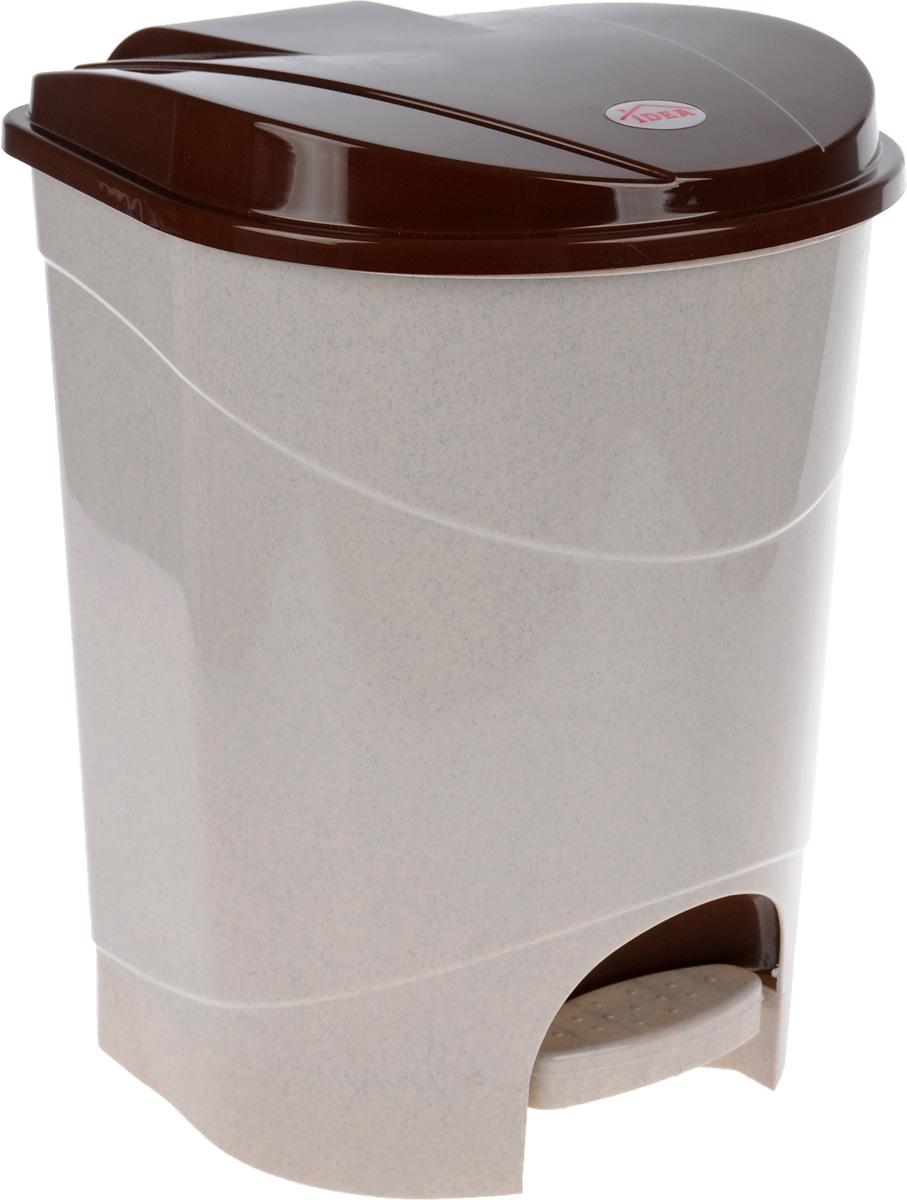 Контейнер для мусора Idea, с педалью, цвет: бежевый, коричневый, 19 л контейнер для мусора idea хапс цвет коричневый мрамор 15 л