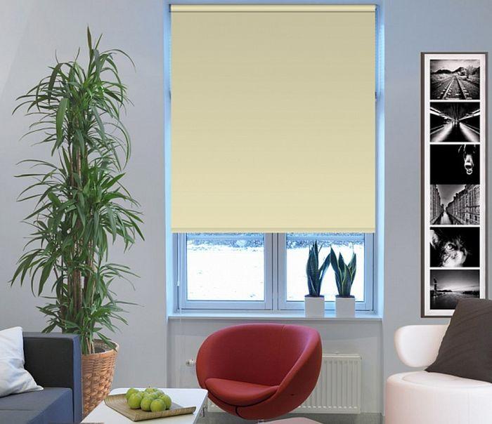 Штора рулонная Эскар Миниролло. Blackout, светонепроницаемые, цвет: светло-бежевый, ширина 98 см, высота 170 см цена