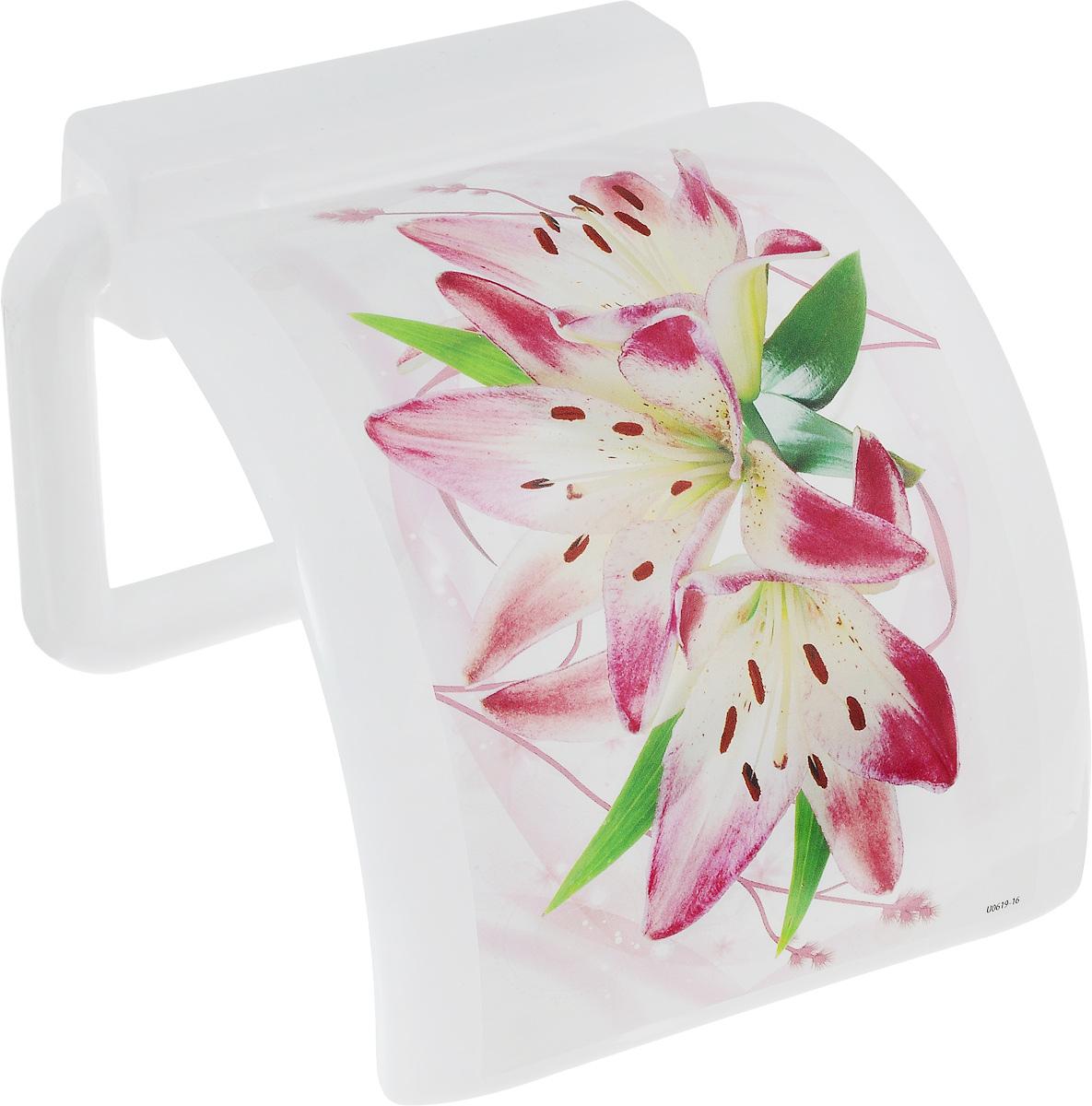 Держатель для туалетной бумаги Idea Деко. Лилия, с крышкой, цвет: белый, розовый, зеленый держатель для книг 14 х 9 х 22 см