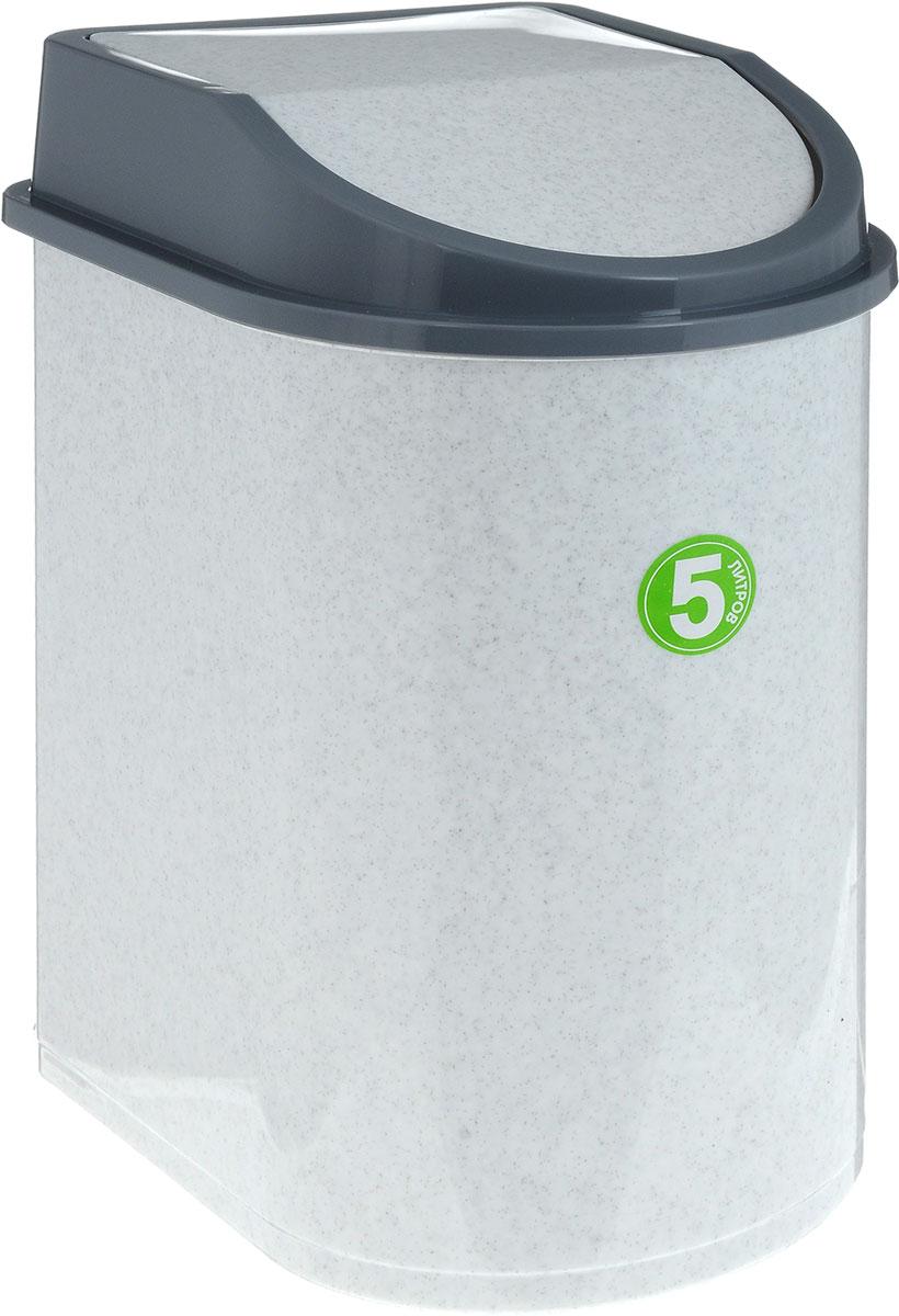 """Контейнер для мусора """"Idea"""", цвет: мраморный, серый, 5 л"""