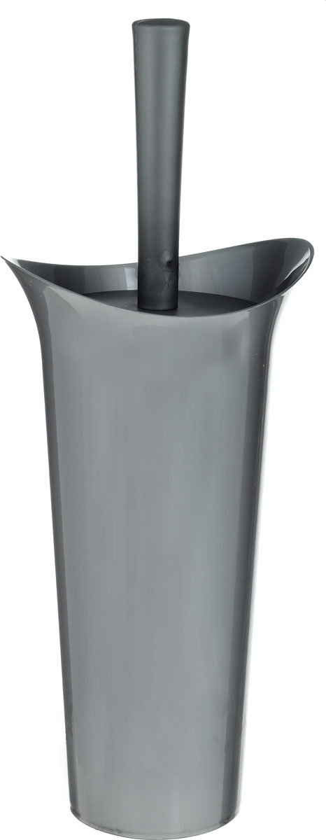Ершик для унитаза Idea Лотос, с подставкой, цвет: темно-серый, высота 36 см ершик для унитаза idea лотос деко барокко с подставкой высота 36 см