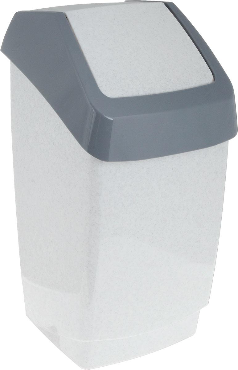 Контейнер для мусора Idea Хапс, цвет: мраморный, серый, 7 л контейнер для мусора idea хапс цвет коричневый мрамор 15 л