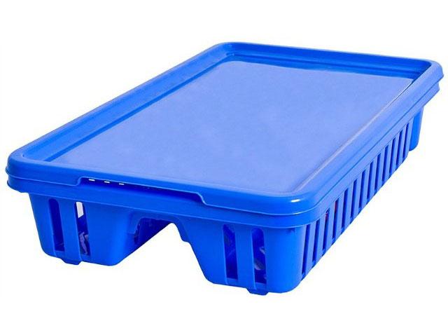 "Сушилка для посуды Curver ""Мини"", с поддоном, цвет: синий, 42 х 26,5 х 8,2 см"