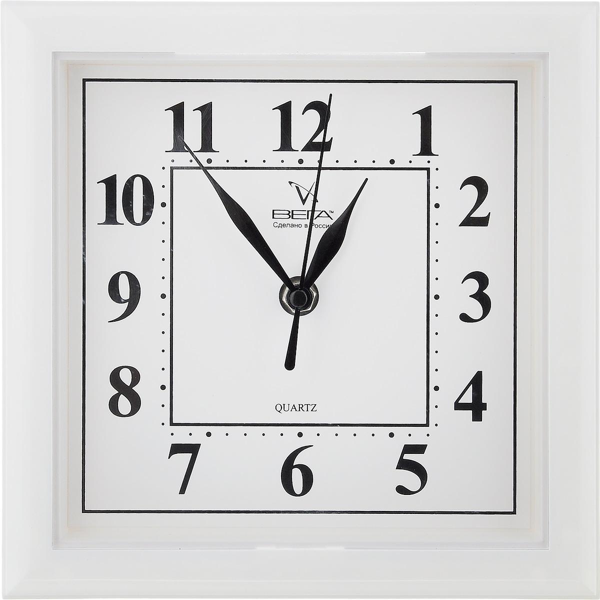 Часы настенные Вега Классика, цвет: белый, 20,6 х 20,6 х 4 см часы настенные вега классика цвет белый