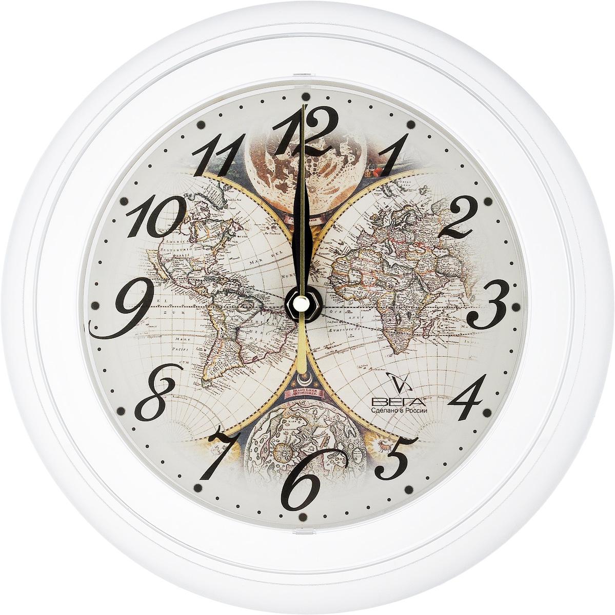 """Часы настенные Вега """"Карта"""", диаметр 22,5 см"""