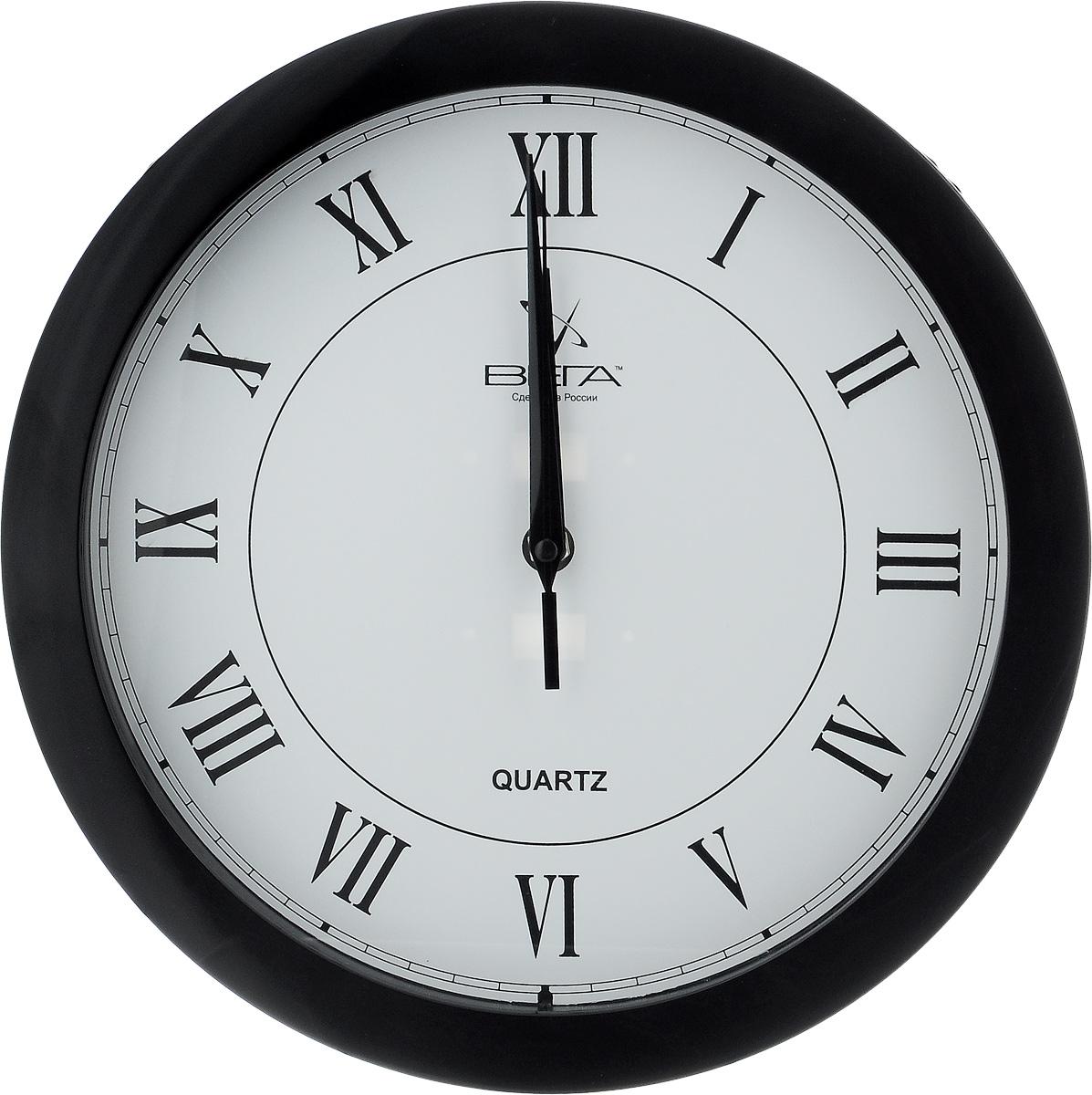 """Часы настенные Вега """"Римская классика"""", цвет: черный, белый, диаметр 28,5 см"""