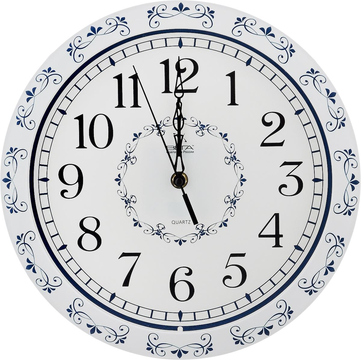 Часы настенные Вега Классика с узором, диаметр 28,5 см часы настенные вега классика цвет серый