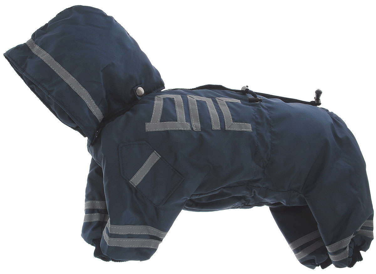 """Комбинезон для собак Kuzer-Moda """"ДПС"""", для мальчика, утепленный, цвет: синий, серый. Размер M (27)"""