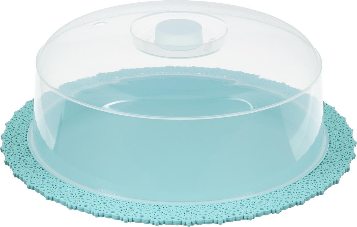 Тортовница Idea Ажур, цвет: аквамарин, прозрачный, диаметр 33 см тортница cosmoplast оазис цвет красный прозрачный диаметр 28 см