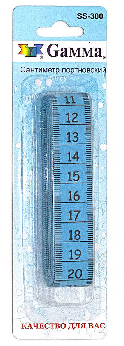 Сантиметр портновский Gamma, цвет: синий, длина 300 см для шитья сантиметр
