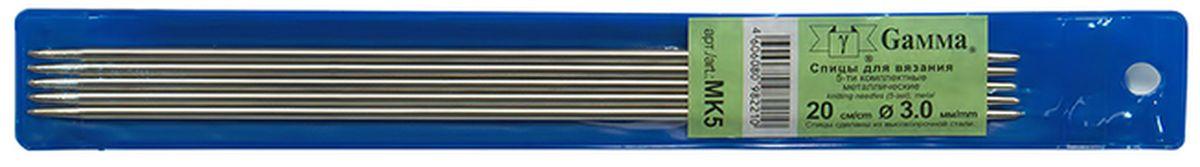 Фото - Спицы прямые Gamma, металлические, диаметр 3 мм, длина 20 см, 5 шт спицы прямые gamma металлические диаметр 5 мм длина 20 см 5 шт