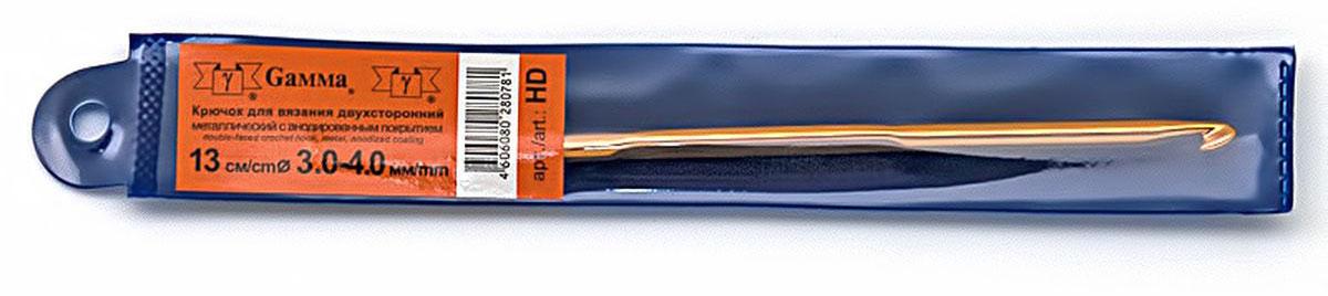 Крючок для вязания Gamma, двухсторонний, диаметр 3-4 мм, длина 13 смHDДвухсторонний металлический крючок для вязания Gamma с анодированным покрытием. Анодирование является надежным способом защиты металла от коррозии, образуя на поверхности пленку, которая не отслаивается от металла и обладает высокой износостойкостью.