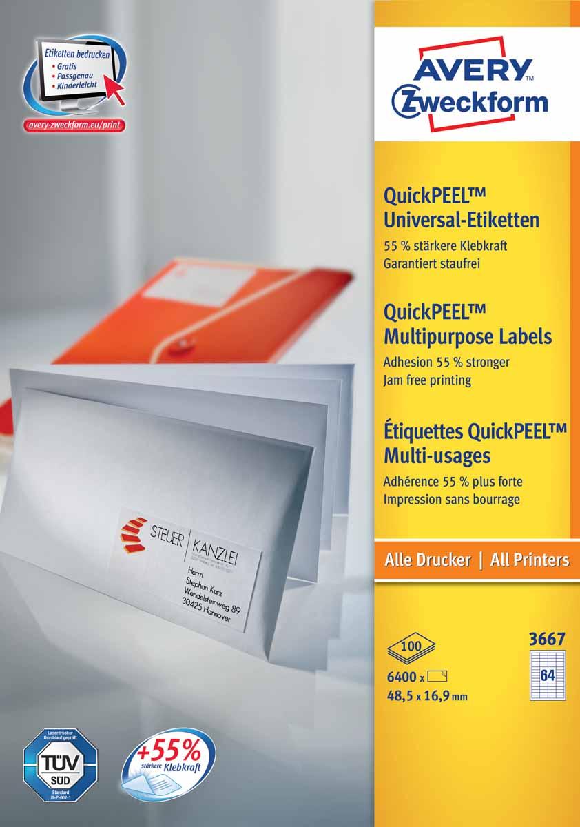 Avery Zweckform Этикетки самоклеящиеся универсальные Quick PEEL 48,5 х 16,9 мм 6400 шт 100 листов