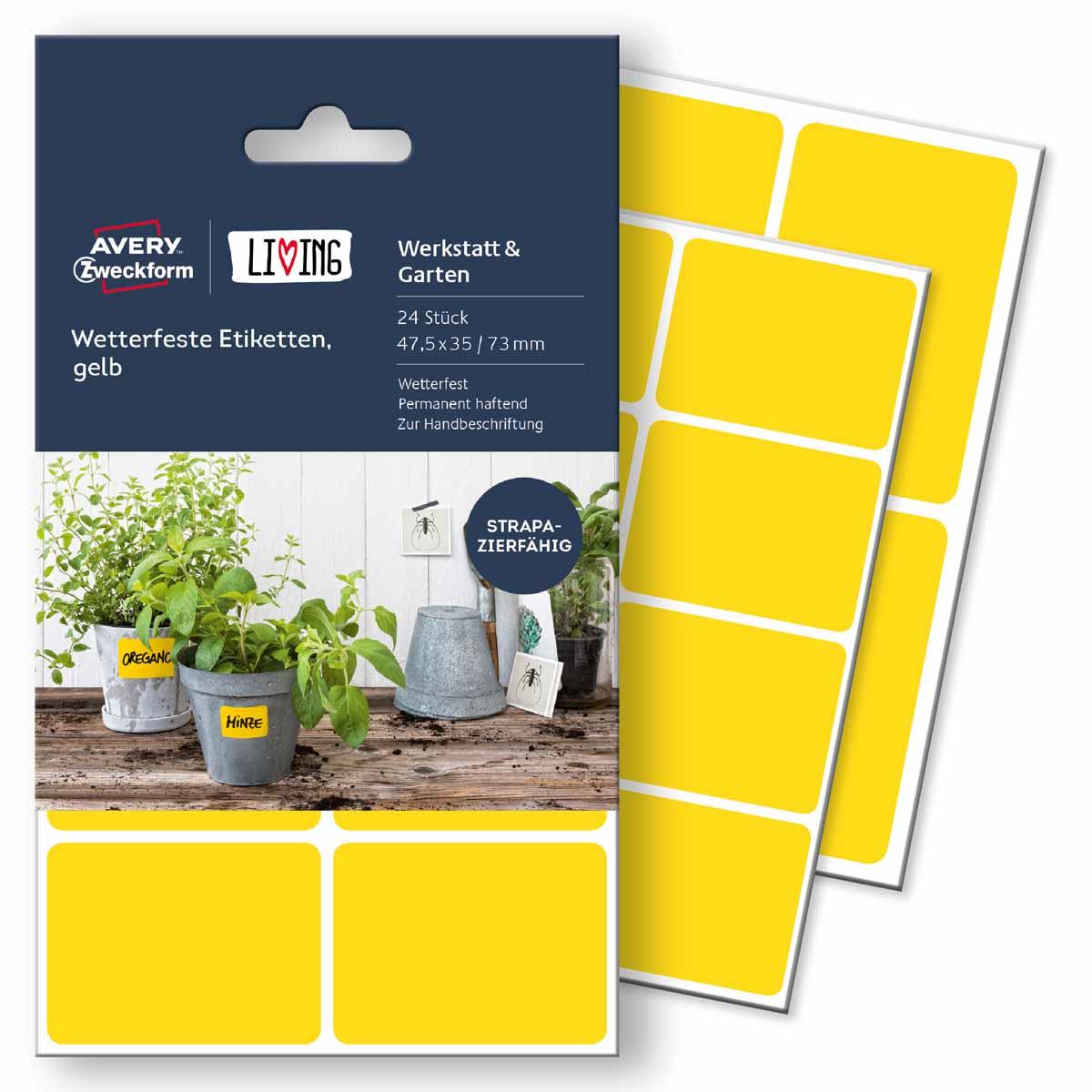 Avery Zweckform Этикетки для дома Living 47,5 х 35 мм цвет желтый жидкость для удаления этикеток avery zweckform спрей 150 мл