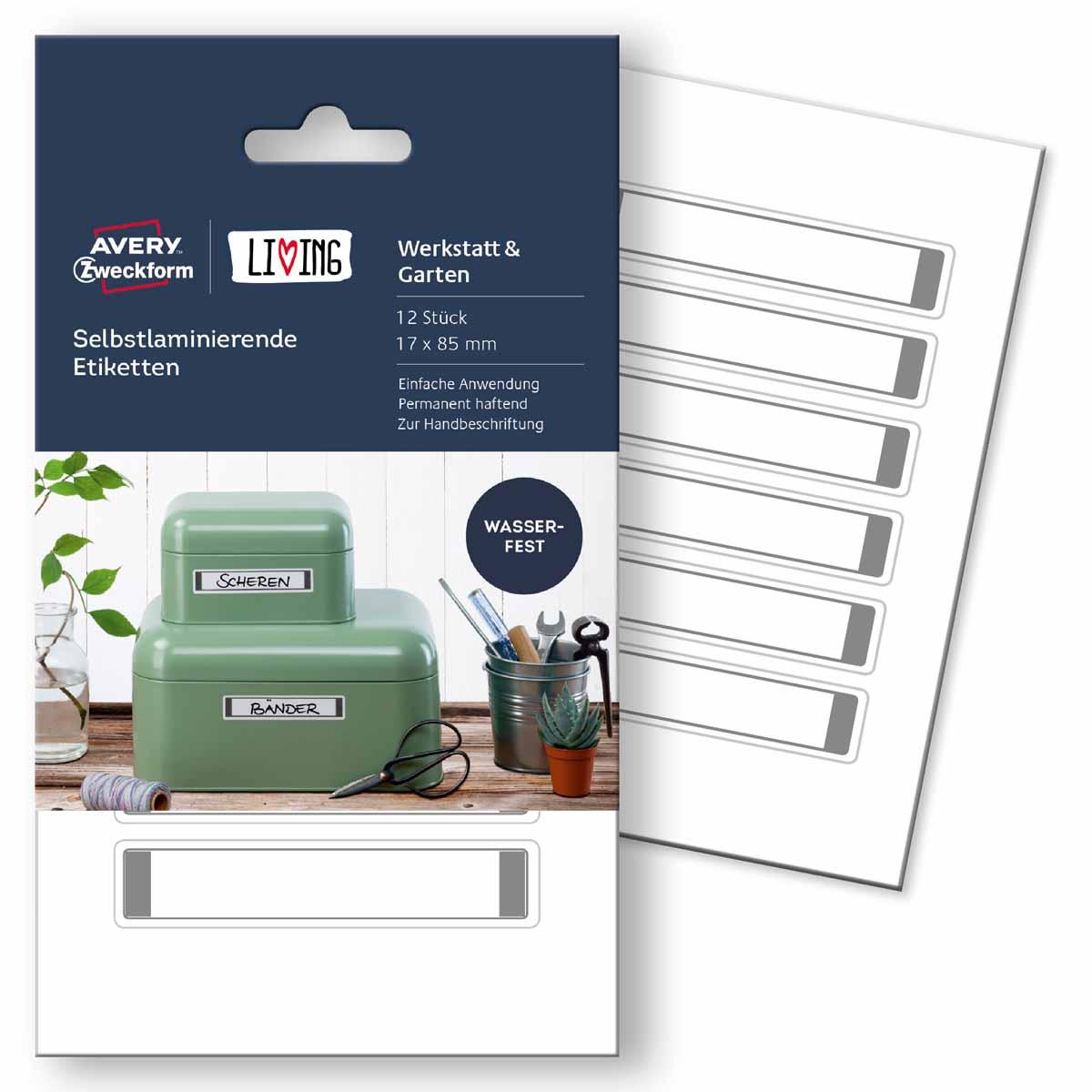Avery Zweckform Этикетки самоламинирующиеся Living 17 х 85 мм жидкость для удаления этикеток avery zweckform спрей 150 мл