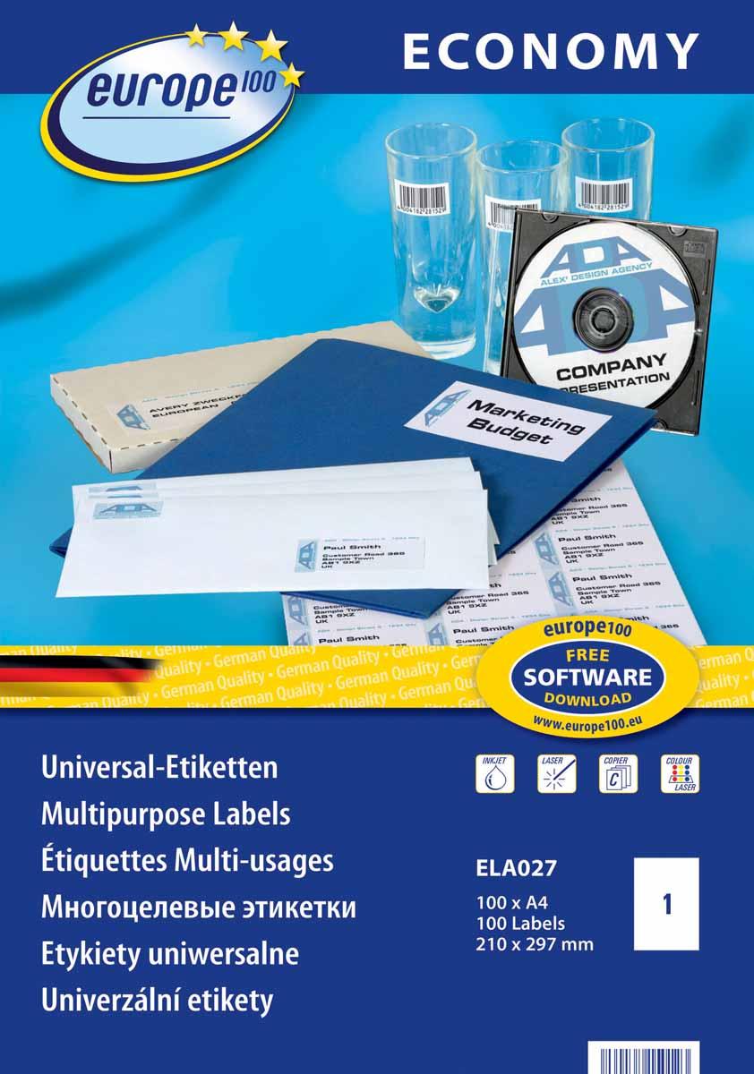 Avery Zweckform Этикетки самоклеящиеся Европа-100 210 х 297 мм 100 листов