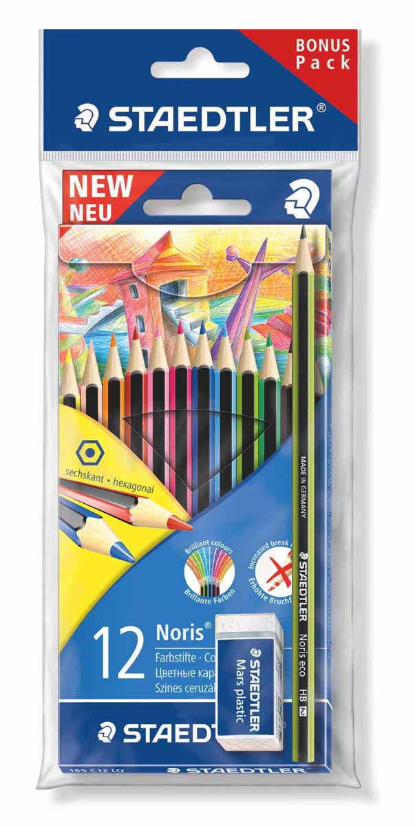 Staedtler Набор цветных карандашей Wopex 12 цветов с чернографитным карандашом 180 30-НВ и ластиком staedtler чернографитный карандаш wopex нв 3 шт