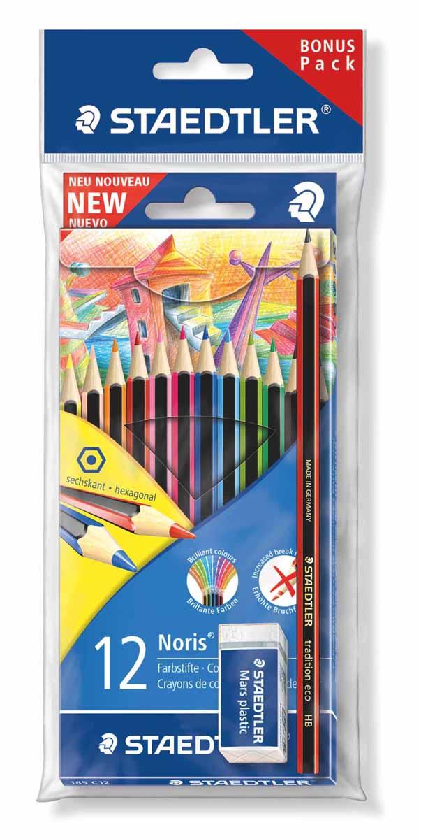 Staedtler Набор цветных карандашей WOPEX 12 цветов с чернографитным карандашом 180T-HB и ластиком staedtler чернографитный карандаш wopex нв 3 шт
