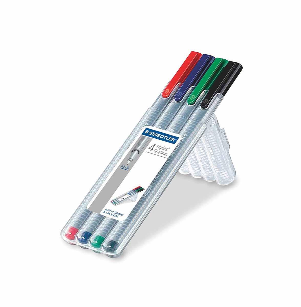 Staedtler Набор капиллярных ручек Triplus 4 цвета staedtler 34sb4 офисный письменный перо перо набор комбинирования 4 вида ручки