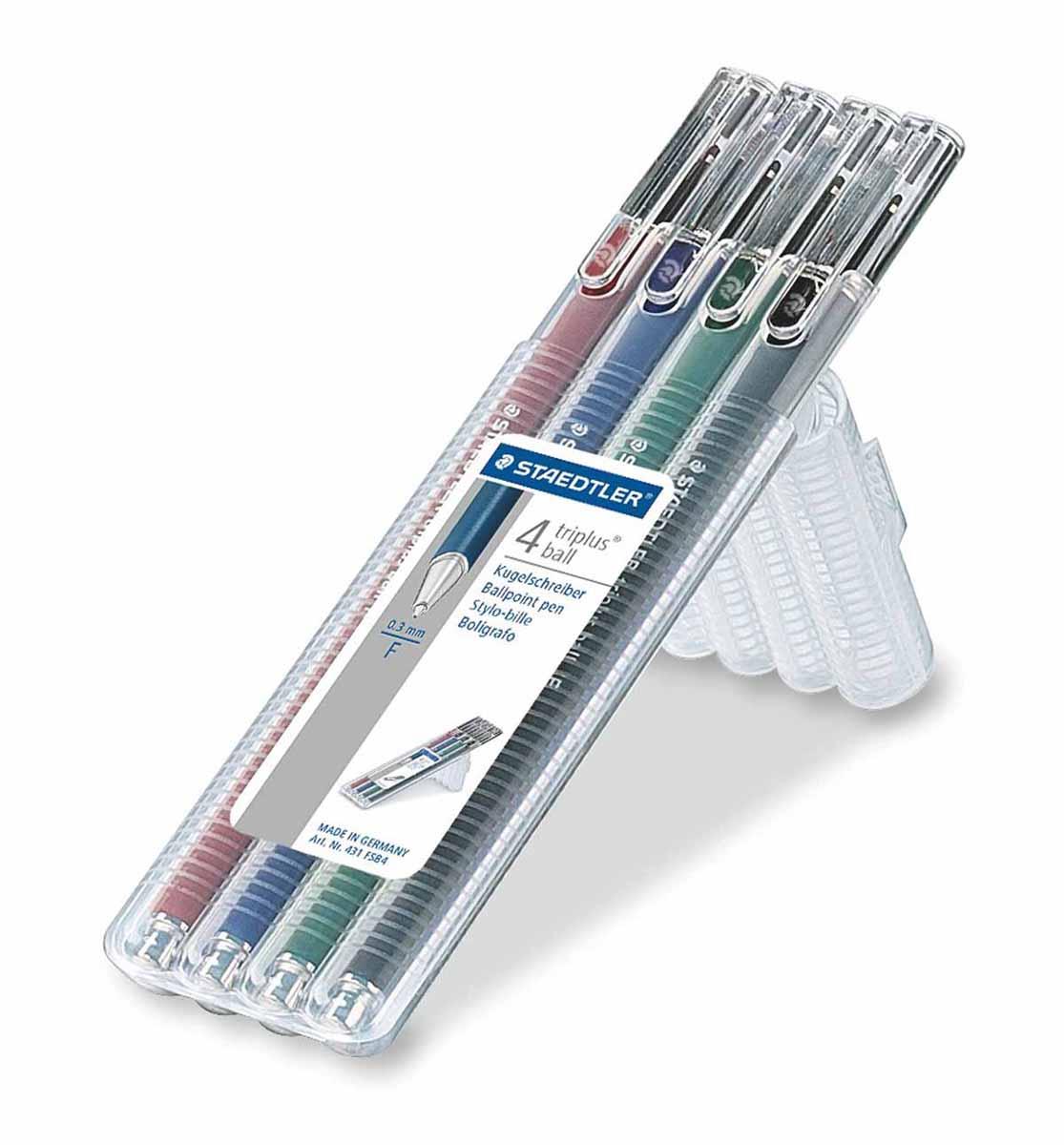 Staedtler Набор шариковых ручек Triplus Ball 4 цвета staedtler 34sb4 офисный письменный перо перо набор комбинирования 4 вида ручки
