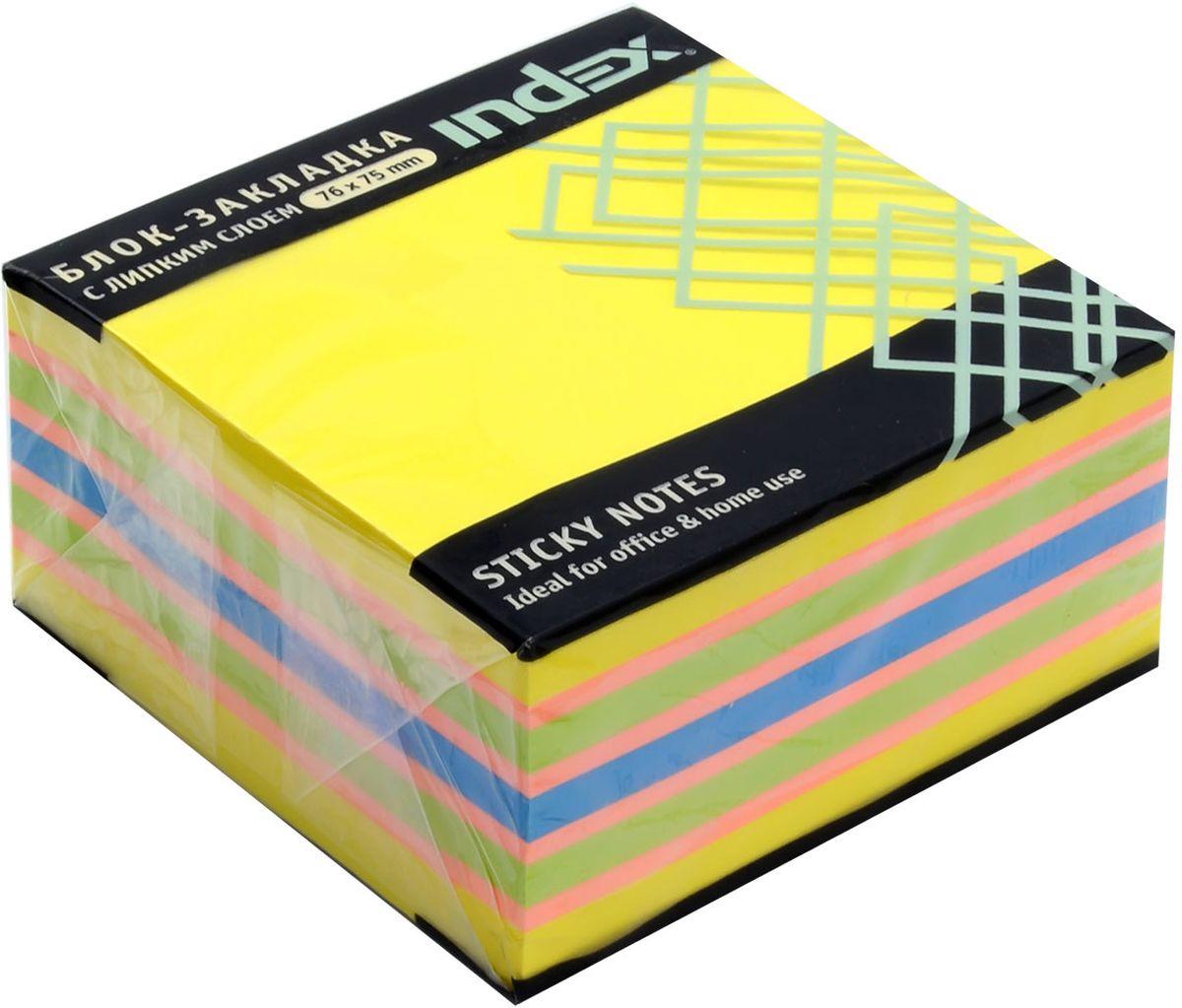 Index Бумага для заметок с липким слоем 7,6 х 7,5 см цвет желтый 400 листов I433812 brauberg бумага для заметок с липким слоем линованая 60 листов