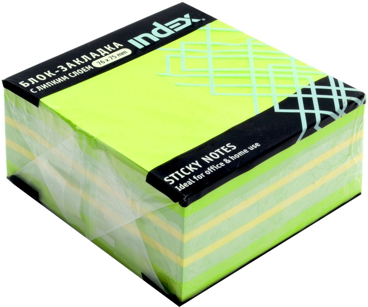 Index Бумага для заметок с липким слоем 7,6 х 7,5 см цвет зеленый 400 листов berlingo бумага для заметок с липким краем neon 7 6 х 7 6 см 400 листов