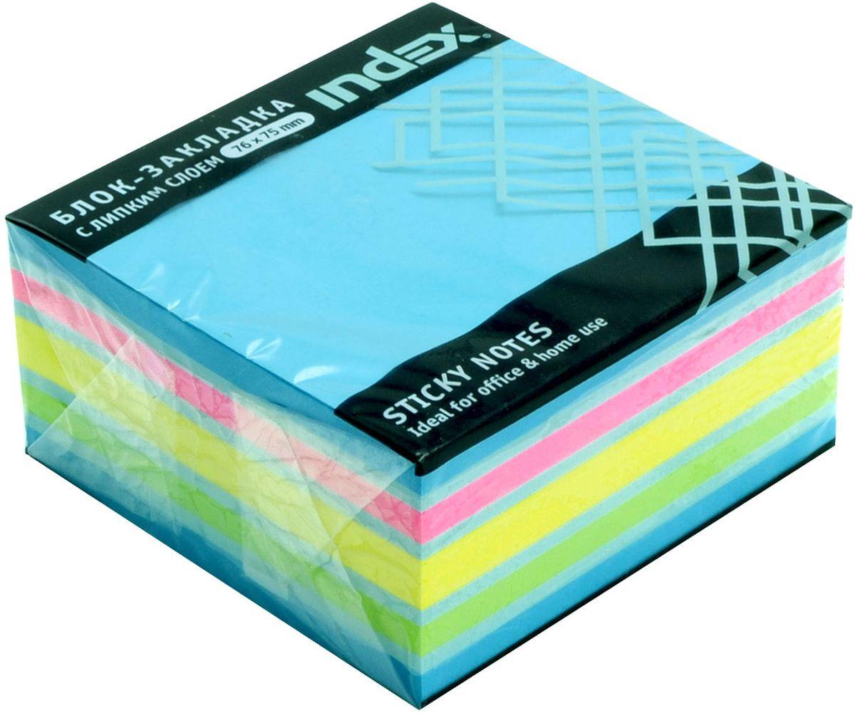 Index Бумага для заметок с липким слоем цвет голубой 400 листов index бумага для заметок с липким слоем 7 6 х 7 5 см цвет желтый 400 листов i433812