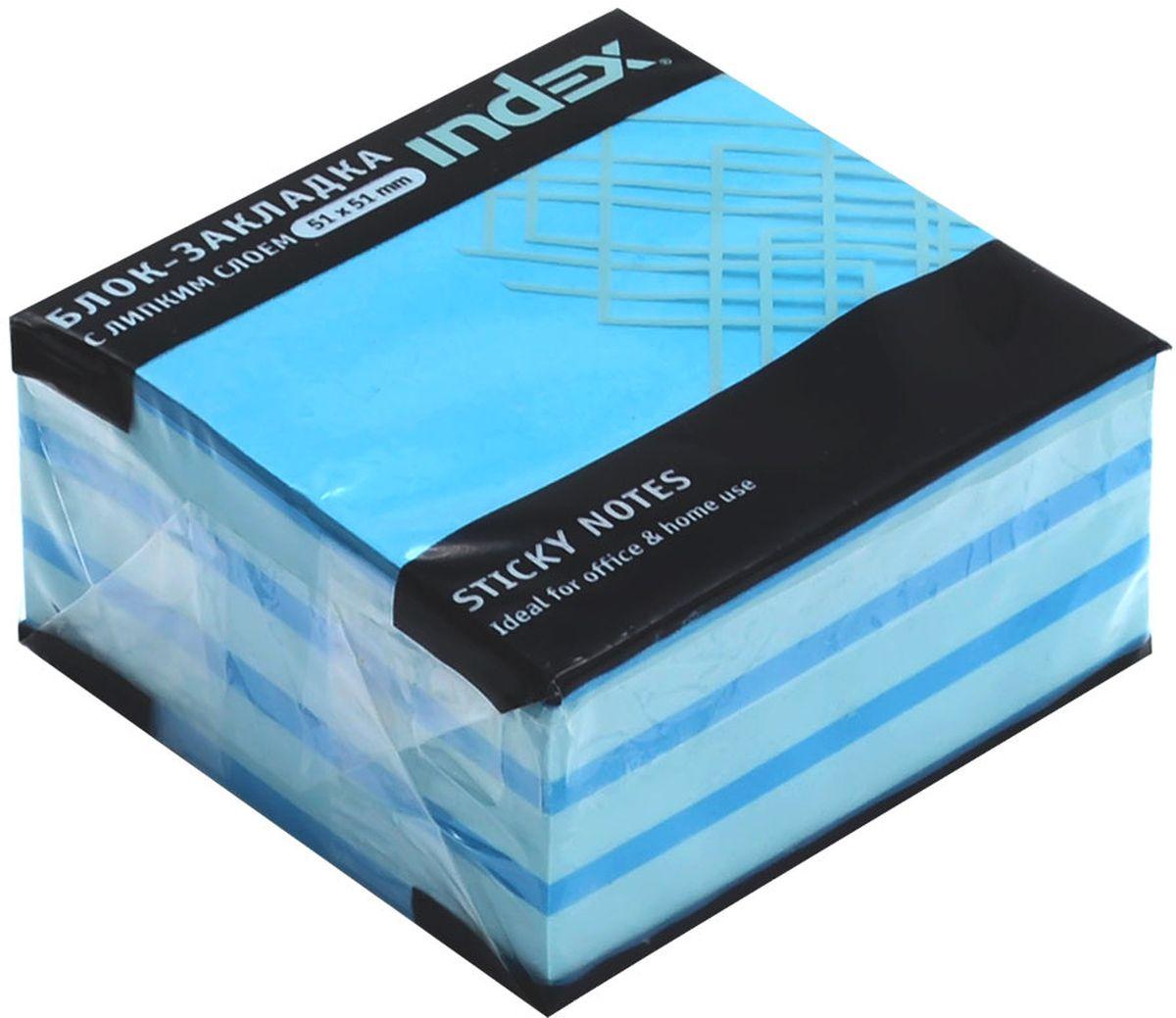 Index Бумага для заметок с липким слоем Мини-куб 5,1 х 5,1 см цвет голубой 250 листов brauberg бумага для заметок с липким слоем линованая 60 листов