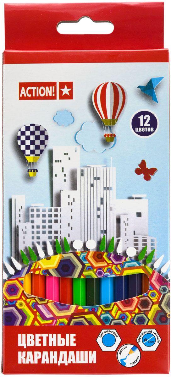 Action! Набор цветных карандашей 12 цветов carioca набор смываемых восковых карандашей baby 8 цветов