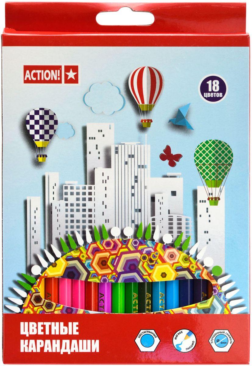 Action! Набор цветных карандашей 18 цветов carioca набор смываемых восковых карандашей baby 8 цветов