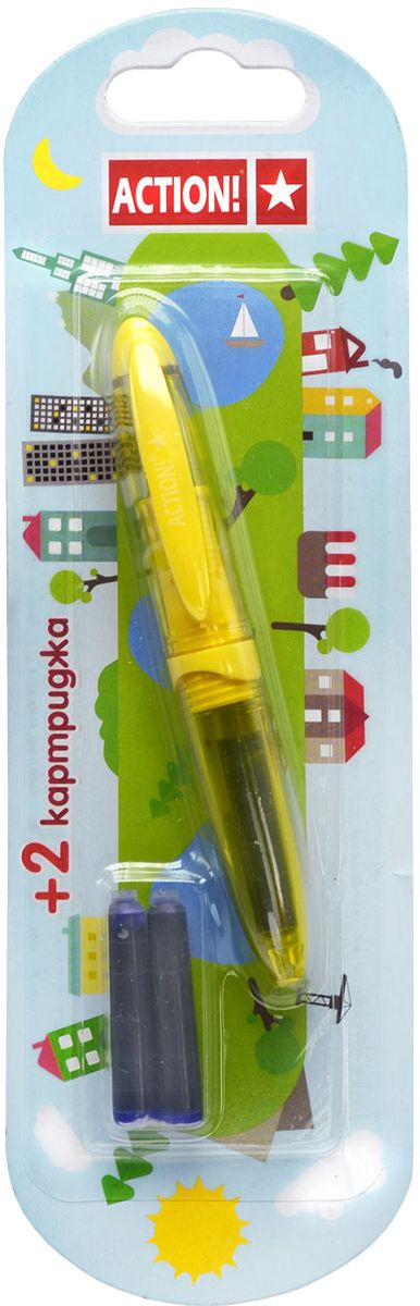 Action! Ручка перьевая с двумя картриджами цвет корпуса желтый AFP1037