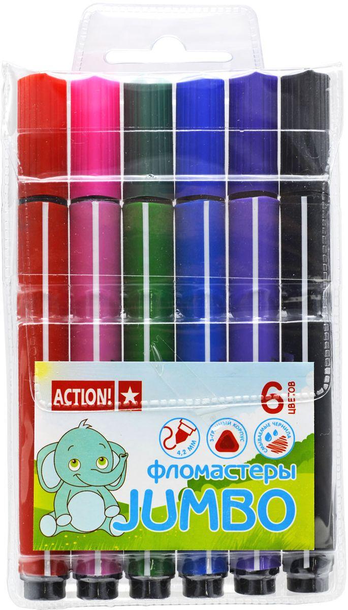 Action! Набор фломастеров утолщенный 6 цветов