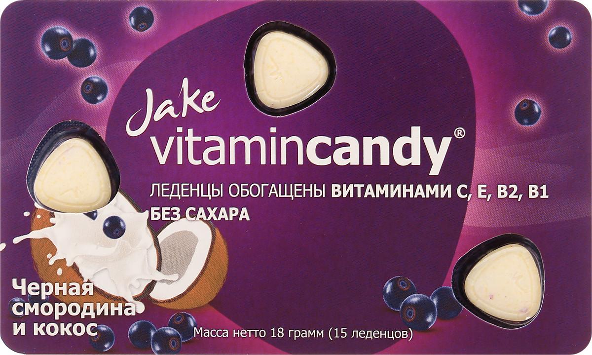 Jake Vitamin C, E, B2, B1 леденцы со вкусом черной смородины и кокоса, 18 г цена