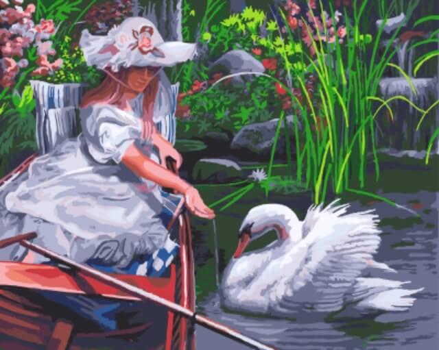 """Набор для рисования по номерам Цветной """"Девочка кормит лебедя"""", 40 х 50 см"""