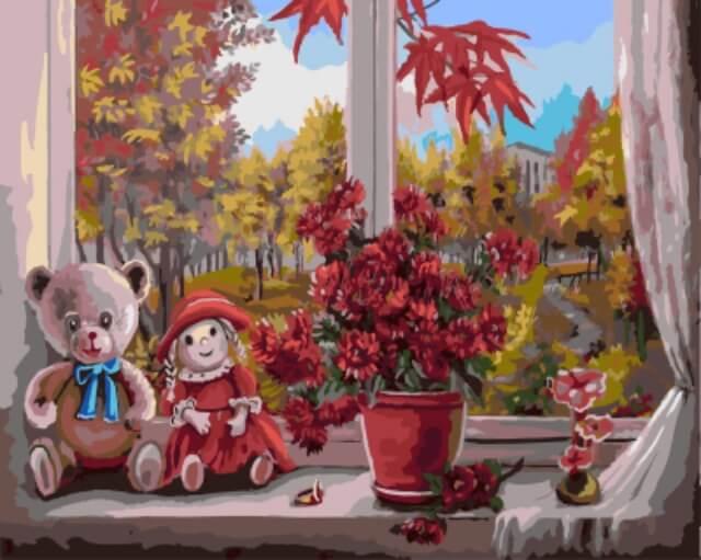 """Набор для рисования по номерам Цветной """"Осень за окном"""", 40 х 50 см"""
