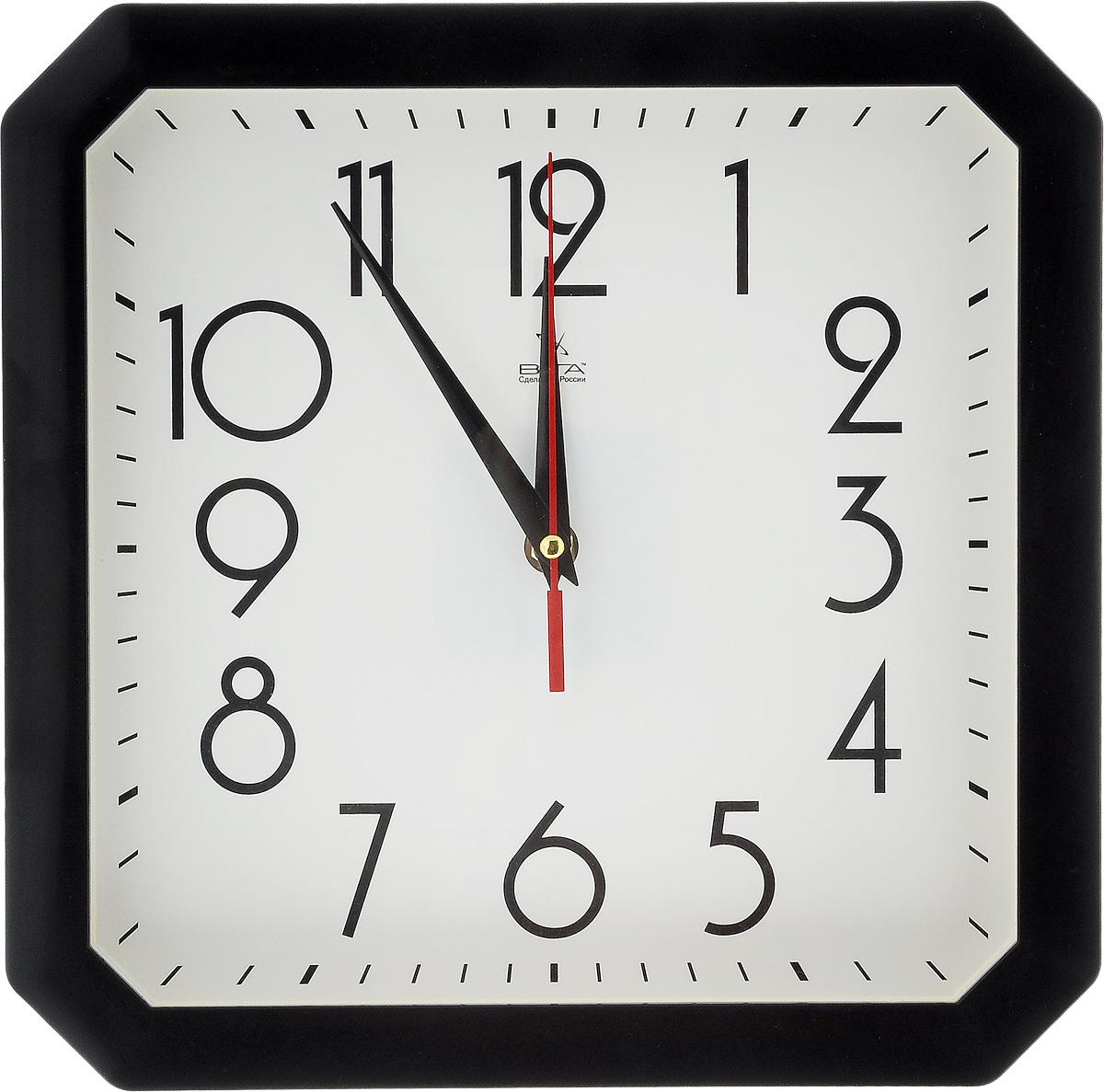 Часы настенные Вега Классика, цвет: черный, белый, 28 х 28 см часы настенные вега классика цвет белый