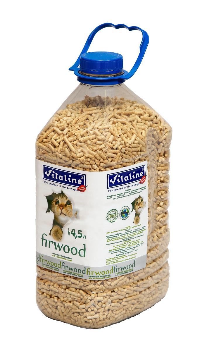 Наполнитель для кошачьего туалета Vitaline Фирвуд, древесный, 4,5 л наполнитель для кошачьего туалета vitaline из лиственных пород древесины 4 5 л