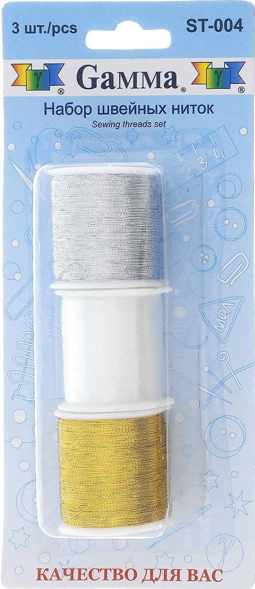 Набор ниток Gamma, цвет: золотистый, серебристый, белый, 100 м, 3 шт набор луп для рукоделия gamma 3 шт