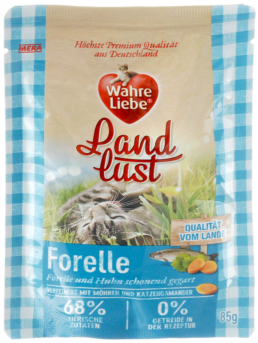 """Консервы для кошек Wahre Liebe """"Nassfutter"""", с добавлением кошачьего дубровника, с форелью и курицей в желе с морковью, 85 г"""