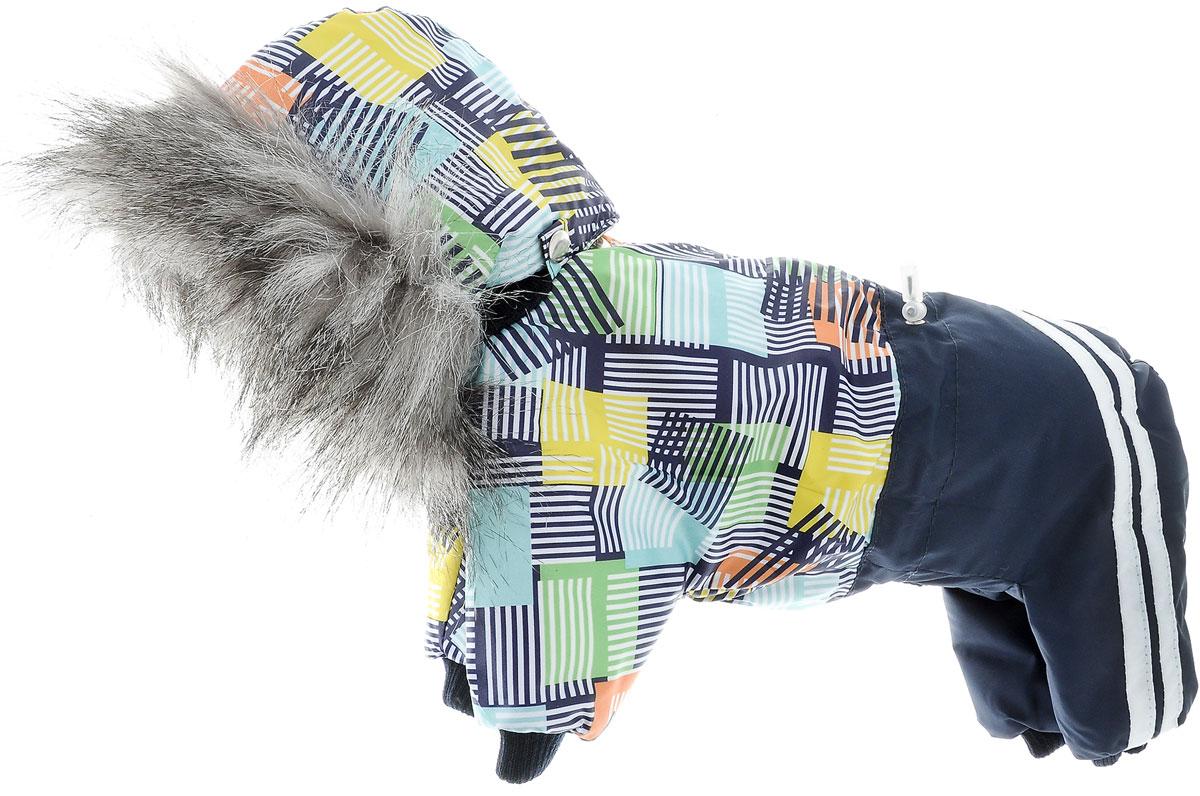 """Комбинезон для собак Kuzer-Moda """"Куртка-брюки"""", утепленный, для мальчика, цвет: темно-синий, мультиколор. Размер S"""