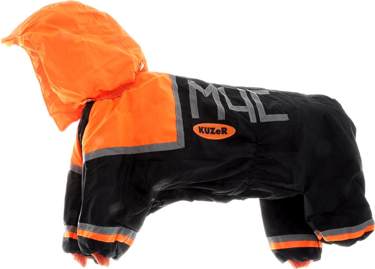 """Комбинезон для собак Kuzer-Moda """"МЧС"""", для мальчика, утепленный, цвет: черный, оранжевый. Размер XL"""