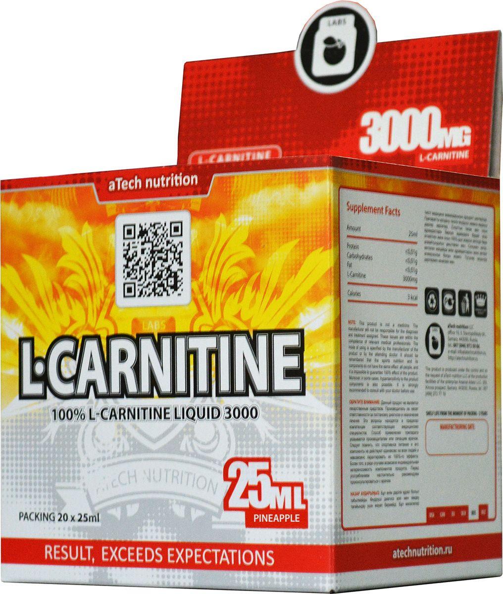 L-карнитин aTech Nutrition L-Carnitine 3000 Liquid, ананас, 25 мл, 20 шт l карнитин sport technology nutrition l carnitine guarana 0 5 л