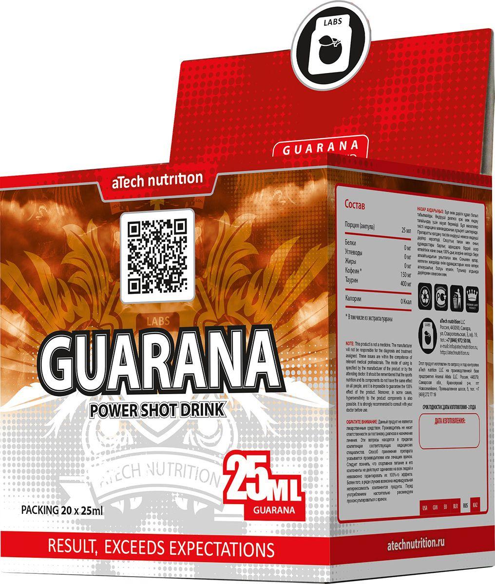 Энергетический напиток aTech Nutrition Guarana Power Shot Drink, гуарана, 25 мл, 20 шт энергетический напиток bbb guarana shots вишня 20 ампул 1500 мг в ампуле