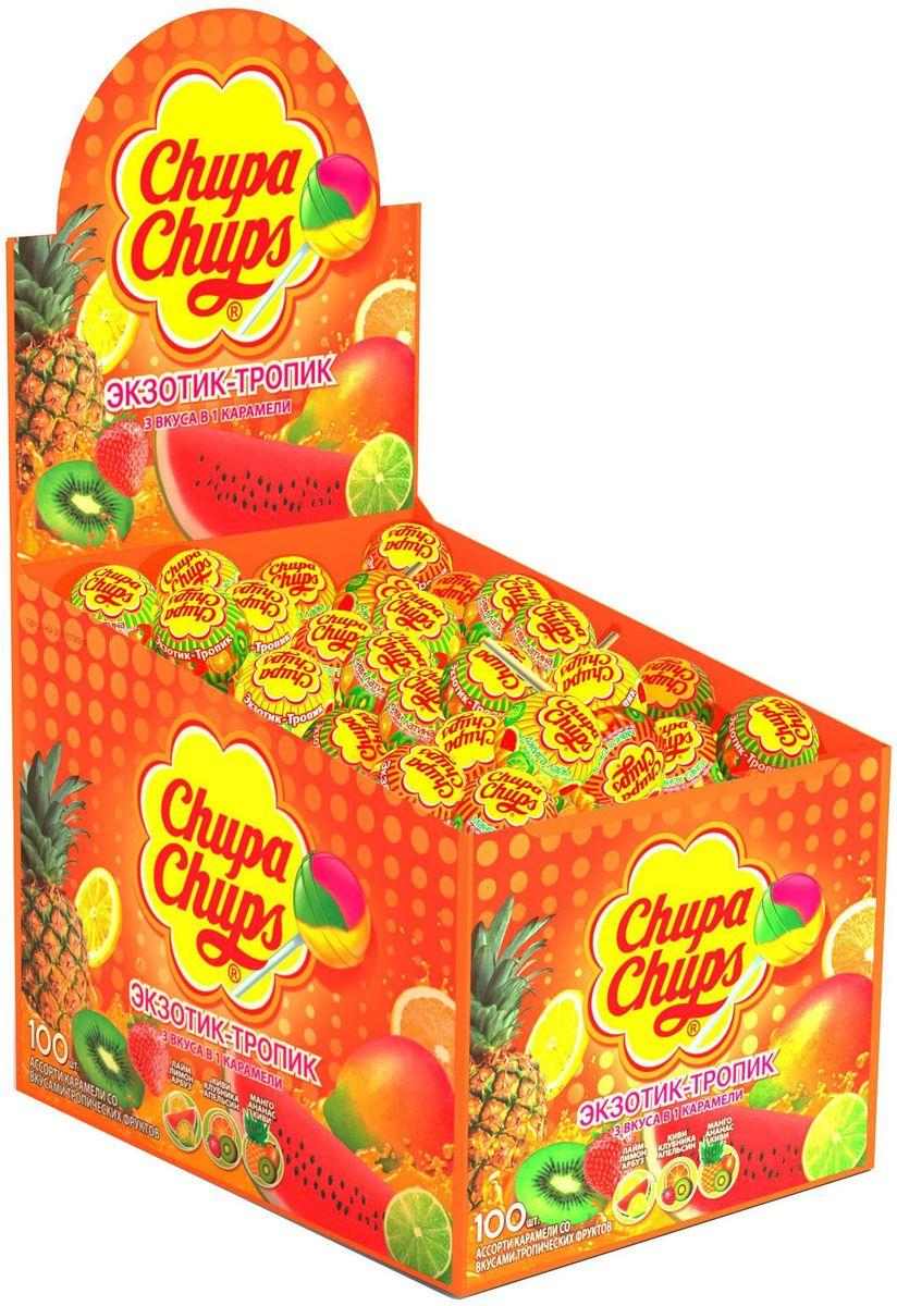 Chupa Chups карамель Экзотик-Тропик ассорти, 100 шт по 12 г леденец chupa chups b pop со вкусом тропических фруктов 45 шт по 15 г