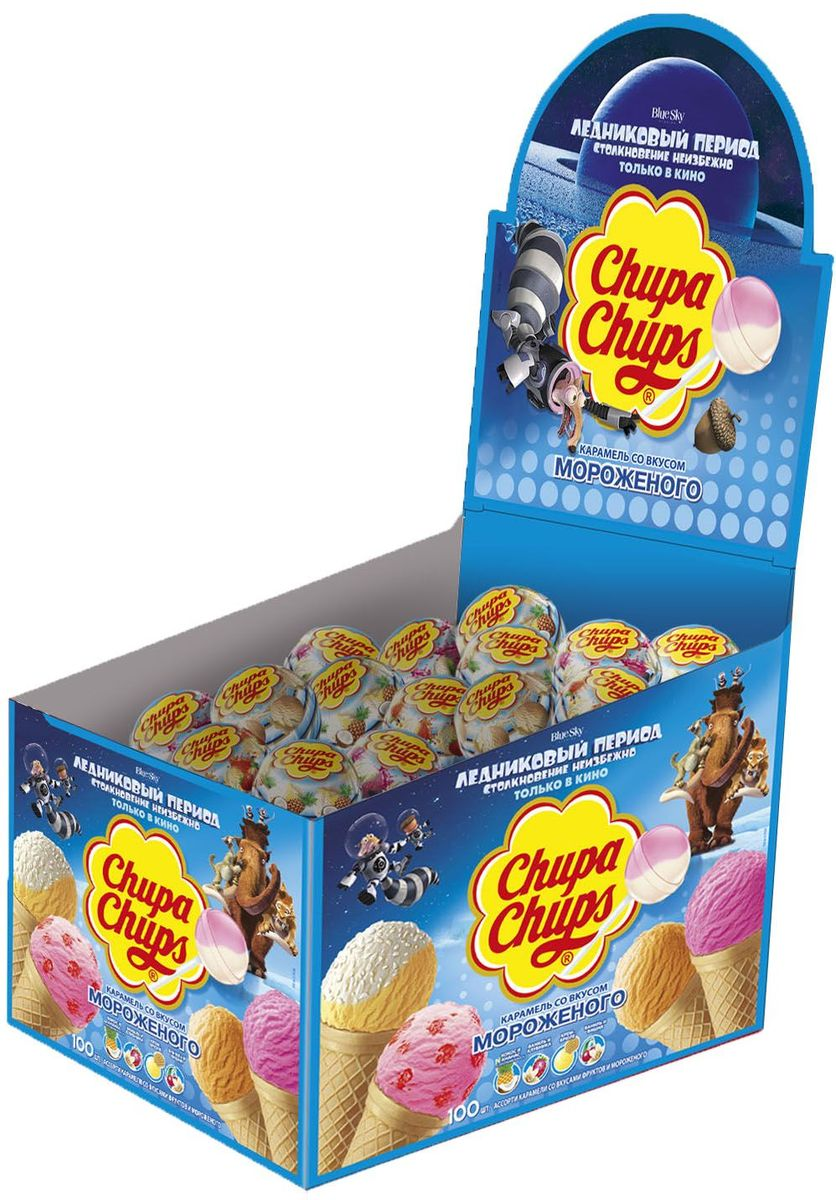 Chupa Chups карамель со вкусом мороженого, 100 шт по 12 г леденец chupa chups b pop со вкусом тропических фруктов 45 шт по 15 г