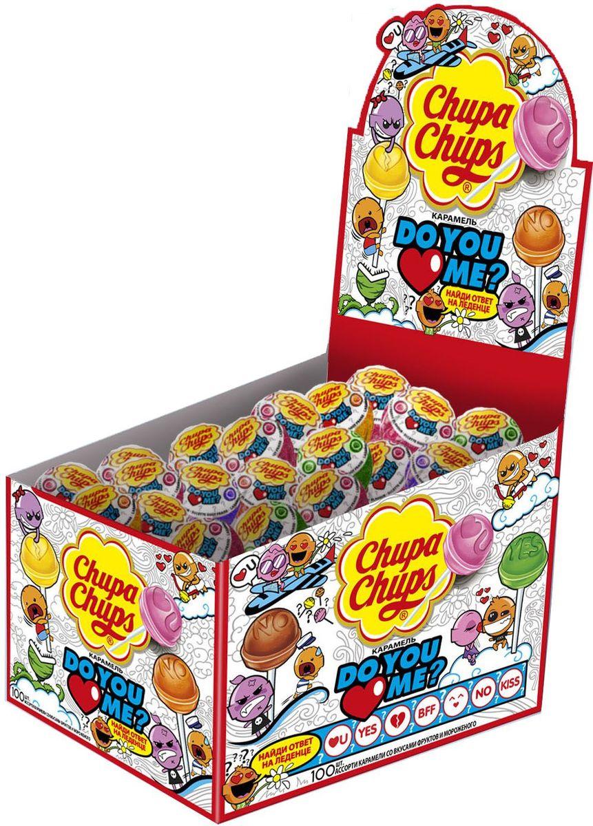 Chupa Chups карамель Do you love me ассорти, 100 шт по 12 г леденец chupa chups b pop со вкусом тропических фруктов 45 шт по 15 г
