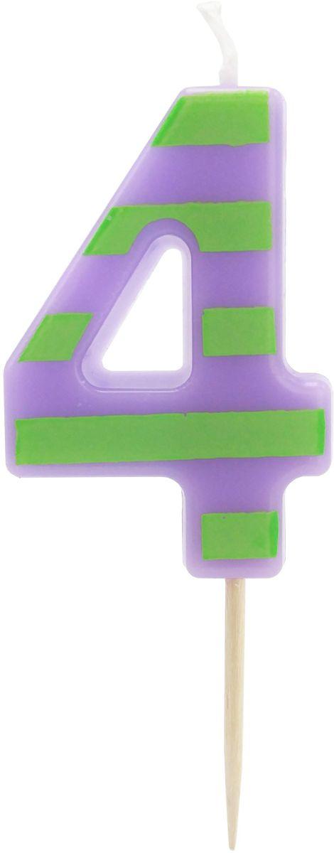 Action! Свеча-цифра для торта 4 года цвет фиолетовый зеленый action свеча цифра для торта 4 года цвет салатовый