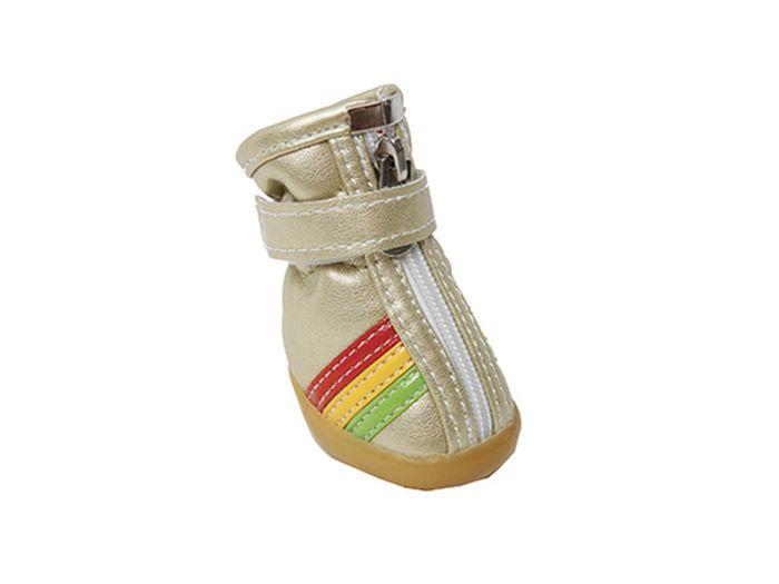 """Ботинки для собак Каскад """"Цветные полосы"""", унисекс, цвет: золотой. Размер XS"""