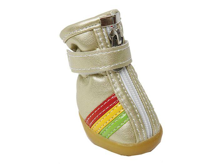 """Ботинки для собак Каскад """"Цветные полосы"""", унисекс, цвет: золотой. Размер M"""