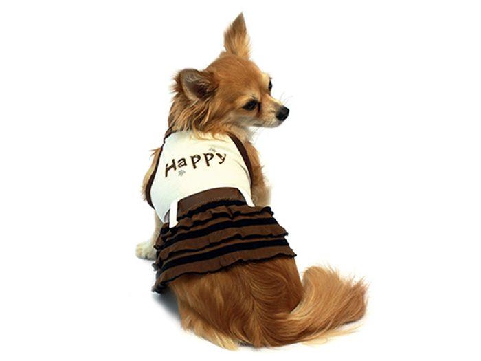 Сарафан для собак Каскад Happy, цвет: бежевый, коричневый. Размер S поводок для собак happy house luxury цвет темно коричневый длина 125 см